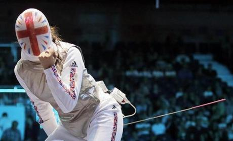 Britain's Sophie Troianol compete in a round of 16 match against Egypt at women's team foil fencing.